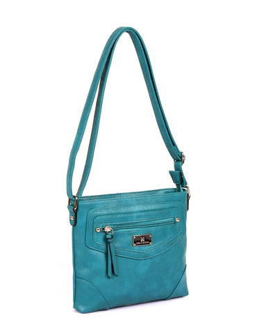Lindsay Women's RFID Crossbody Bag Teal Side - karlahanson.com
