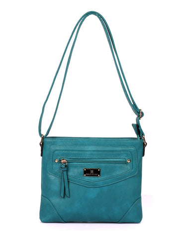 Lindsay Women's RFID Crossbody Bag Black & Teal - karlahanson.com