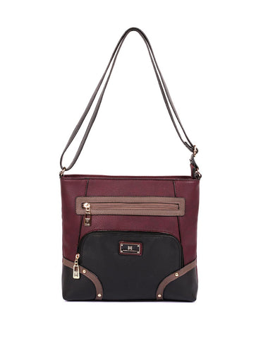 Christine Women's RFID Crossbody Bag Black Grey Burgundy Front - karlahanson.com
