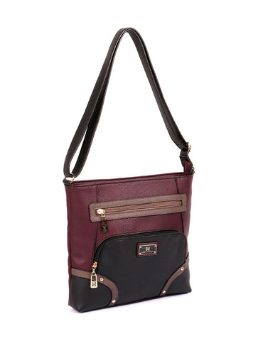 Christine Women's RFID Crossbody Bag Black Grey Burgundy Side - karlahanson.com