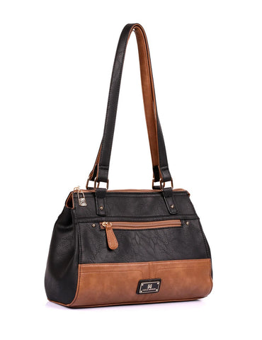 Christine Women's RFID Shoulder Bag III Black Tan Side - karlahanson.com