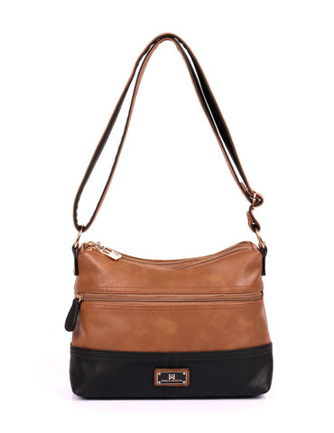 Christine Women's RFID Crossbody Bag II Black Tan Front - karlahanson.com