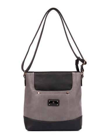 Christine Women's RFID Crossbody Bag Black Grey Front - karlahanson.com