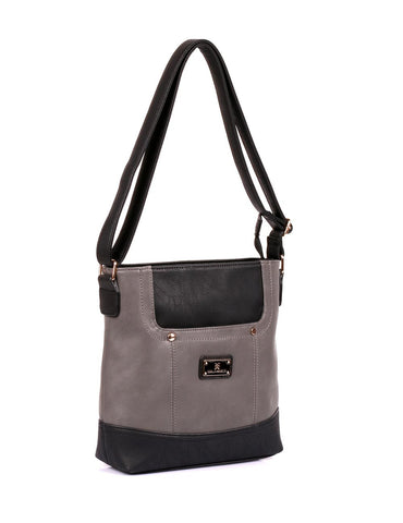 Christine Women's RFID Crossbody Bag Black Grey Side - karlahanson.com