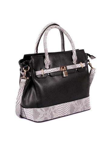 Julie Women's Satchel Bag Black Python - karlahanson.com
