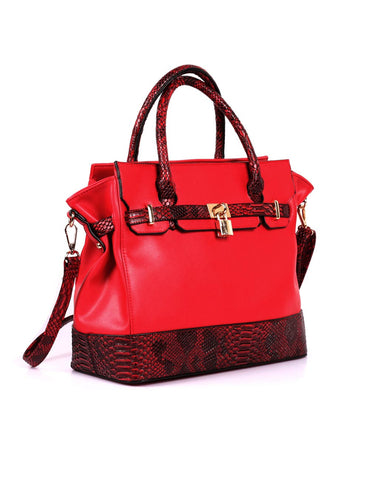 Julie Women's Satchel Bag Red Python - karlahanson.com