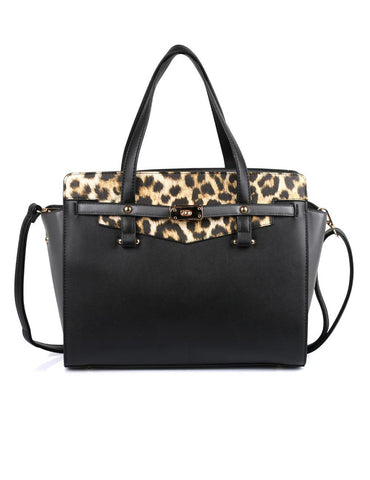 Julie Women's Satchel Bag Black Leopard - karlahanson.com