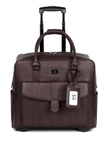Men's RFID Professional & Travel Trolley Brown Front - karlahanson.com