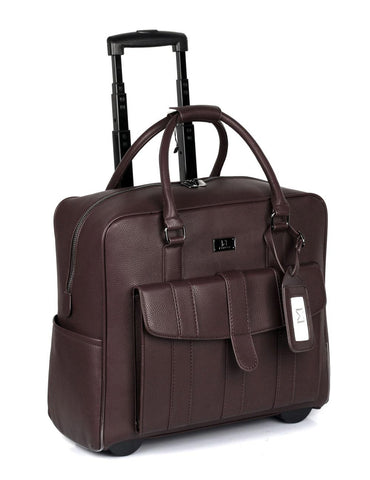 Men's RFID Professional & Travel Trolley Brown Side - karlahanson.com