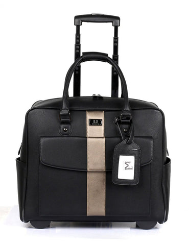 Men's RFID Professional & Travel Trolley Black Bronze Stripe Front - karlahanson.com