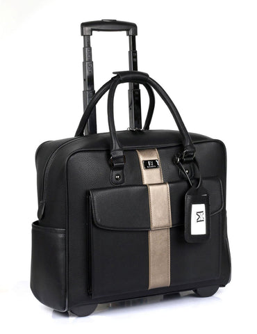 Men's RFID Professional & Travel Trolley Black Bronze Stripe Side - karlahanson.com