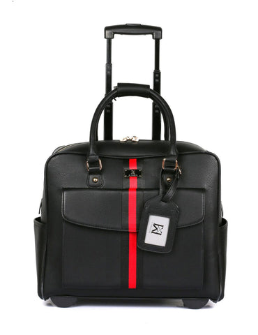 Men's RFID Professional & Travel Trolley Black Red Stripe Front with Handle - karlahanson.com