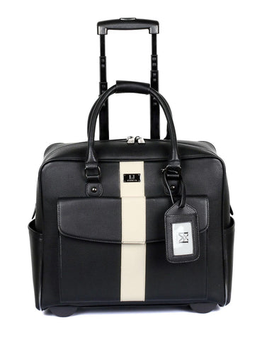 Men's RFID Professional & Travel Trolley Black White Stripe Front - karlahanson.com