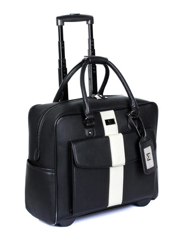 Men's RFID Professional & Travel Trolley Black White Stripe Side - karlahanson.com