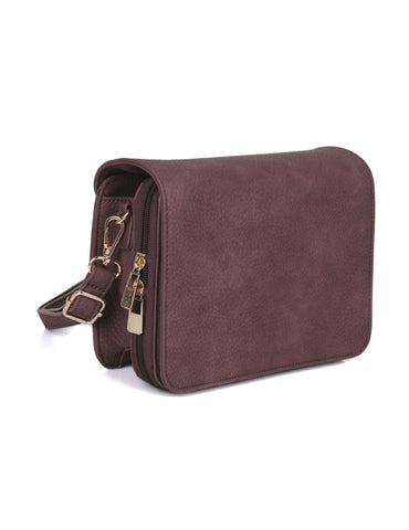 Madison Women's Crossbody Organizer Bag Burgundy
