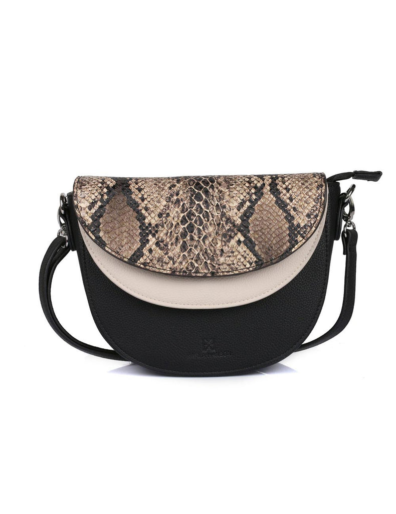 Linda Women's Saddle Crossbody Bag Python & Black - karlahanson.com