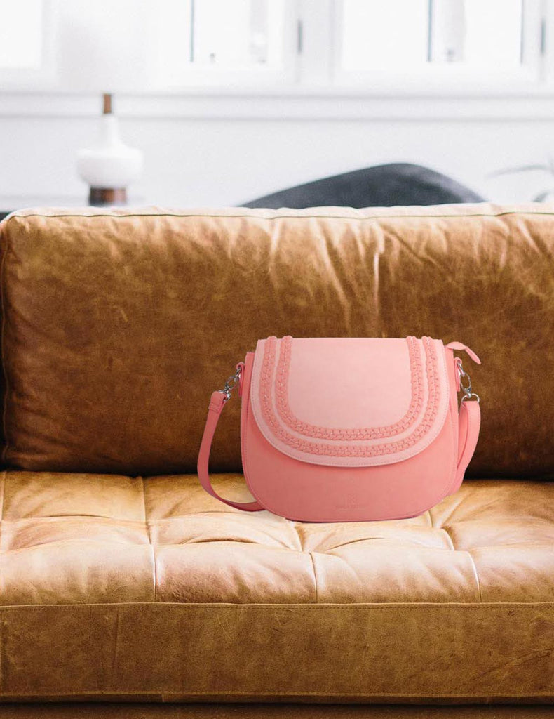 Shere Women's Crossbody Saddle Bag Coral - karlahanson.com