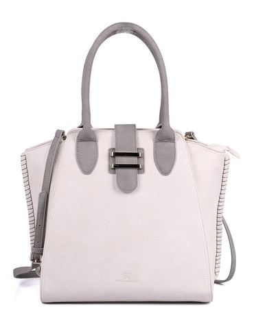 Shere Women's Tote Shoulder Bag Ivory Grey Front - karlahanson.com