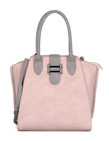 Shere Women's Tote Shoulder Bag Pink Grey Front - karlahanson.com