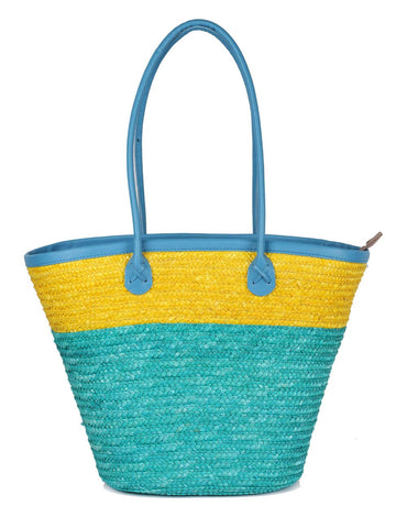 Women's Summer Beach Straw Bag Yellow Aqua Front View - karlahanson.com