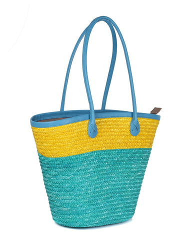 Women's Summer Beach Straw Bag Yellow Aqua Side View - karlahanson.com