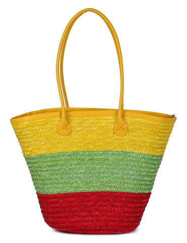 Women's Summer Beach Straw Bag Citris Tone Front View - karlahanson.com
