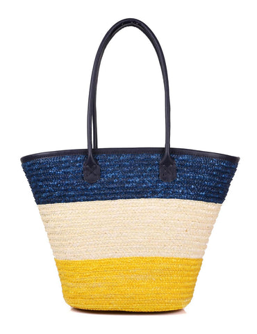 Women's Summer Beach Straw Bag Nautical Tone Front View - karlahanson.com