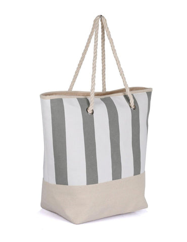 Women's Summer Nautical Stripe Bag Grey Side View - karlahanson.com