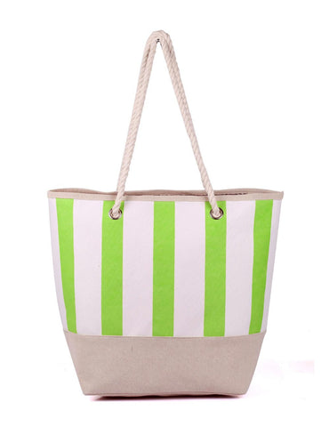Women's Summer Nautical Stripe Bag Lime Front View - karlahanson.com