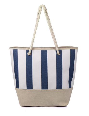Women's Summer Nautical Stripe Bag Navy Front View - karlahanson.com