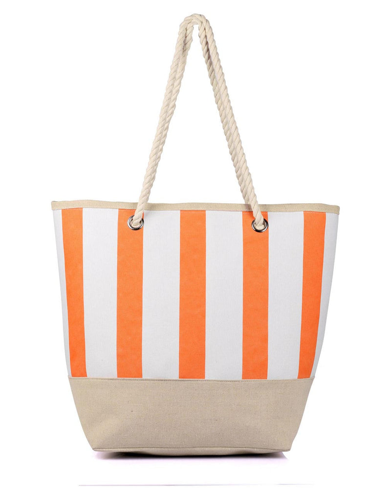 Women's Summer Nautical Stripe Bag Tangerine - karlahanson.com