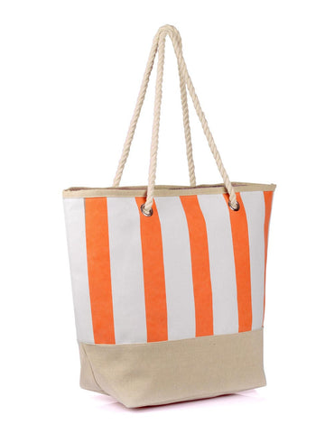 Women's Summer Nautical Stripe Bag Tangerine Side View - karlahanson.com