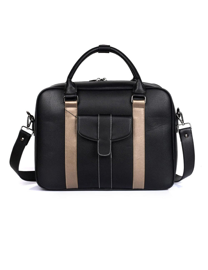 Men's Professional & Travel Briefcase Black Bronze Stripe - karlahanson.com