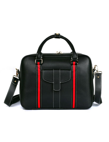 Men's RFID Professional & Travel Briefcase Black Red Stripe Front - karlahanson.com