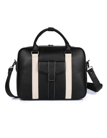 Men's Professional & Travel Briefcase Black White Stripe - karlahanson.com