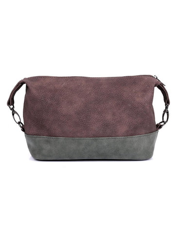 Men's Faux Suede Travel Toiletry Bag Brown Grey - karlahanson.com