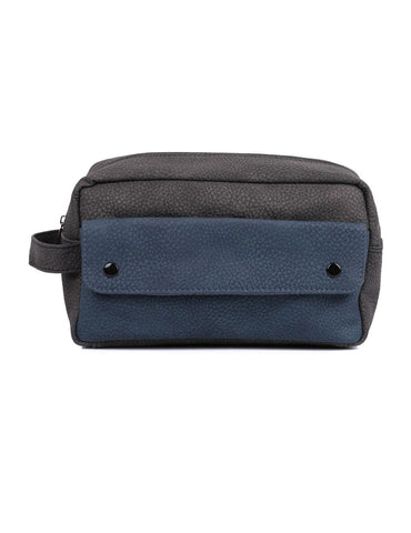 Men's Travel Toiletry Bag with Front Pocket Grey Navy - karlahanson.com