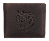 CANADA WILD Men's Hunter Leather Wallet Grizzly Bear