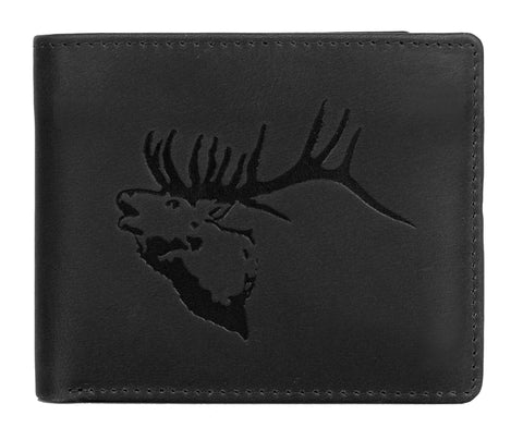 CANADA WILD Men's Hunter Leather Wallet Elk Stag