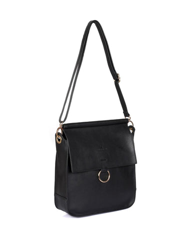 Isabella Women's Crossbody Bag with Ring Loop Black