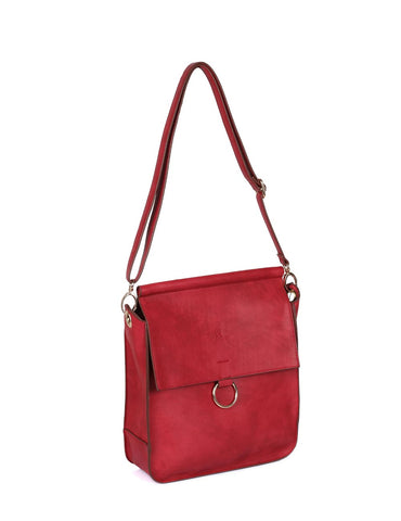 Isabella Women's Crossbody Bag with Ring Loop Burnt Red