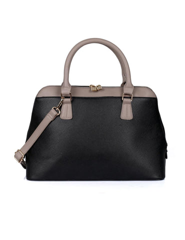 Riley Women's Satchel Bag Black with Taupe Trim - karlahanson.com