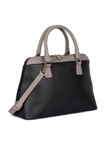 Riley Women's Satchel Bag Black with Taupe Trim