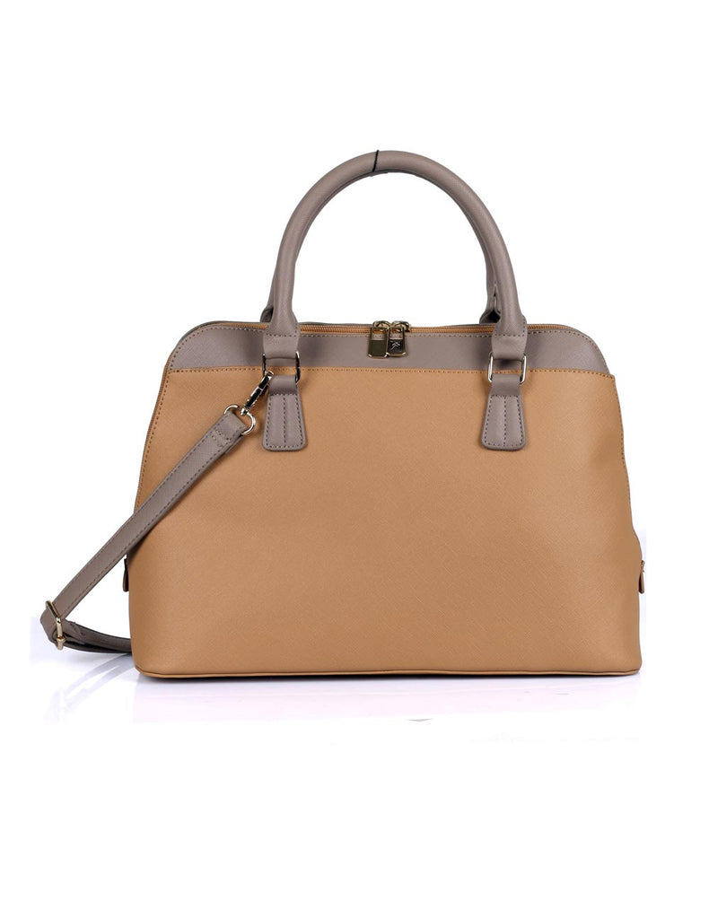 Riley Women's Satchel Bag Tan with Taupe Trim - karlahanson.com