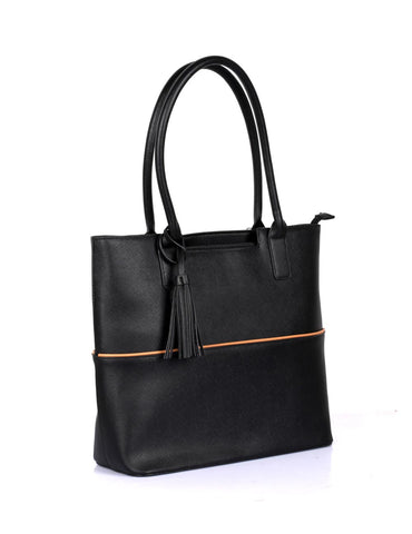 Riley Women's Tote Bag with Tassel - Black with Tan Trim - karlahanson.com