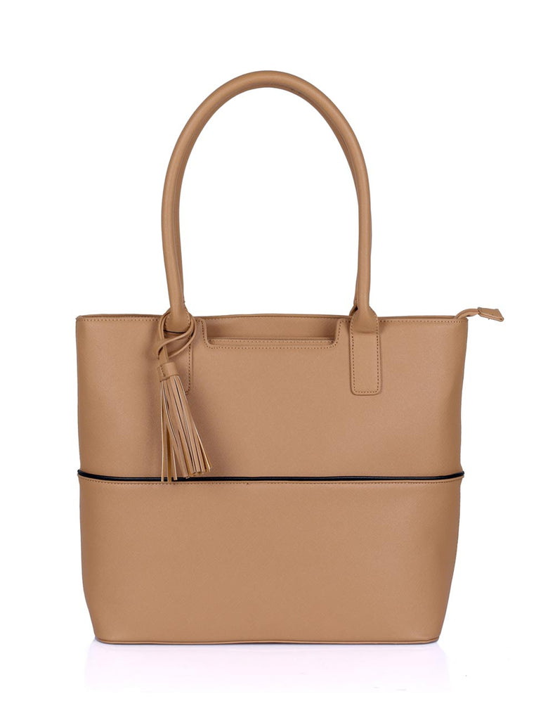 Riley Women's Tote Bag with Tassel - Tan with Black Trim - karlahanson.com