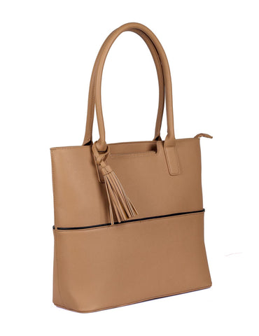 Riley Women's Tote Bag with Tassel - Tan with Black Trim
