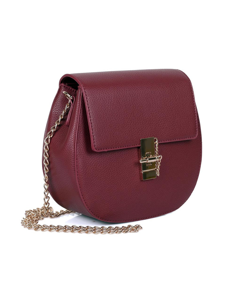 Madison Women's Crossbody Saddle Bag Burgundy - karlahanson.com