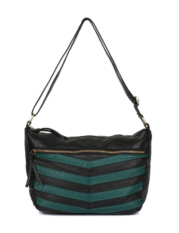 Avery Pre-Washed Women's Stripe Hobo Bag Forest Green - karlahanson.com