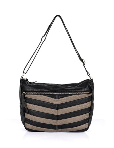 Avery Pre-Washed Women's Stripe Hobo Bag Taupe - karlahanson.com